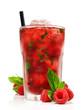 Leinwanddruck Bild - Mojito - Cocktail mit Himbeeren