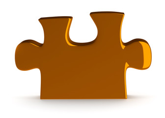 Single golden puzzle piece standing isolated on white