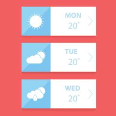 Flat weather forecast app design template