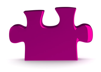 Single pink puzzle piece standing isolated on white