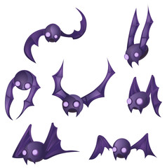 Bat Cartoon Design Element Set