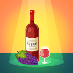 Wine with Grapes Poster