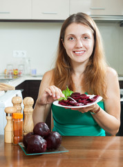 Happy  woman  with  beets
