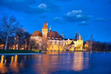 Vajdahunyad castle in the evening with lake, Budapest, Hungary