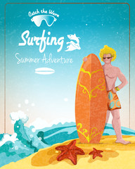 Surfing summer adventure poster