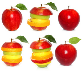 Apple and mixed fruit set on white background .