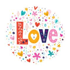 word Love retro typography lettering decorative text