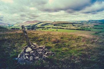 Retro Hilltop Cairn Scotland Landscape