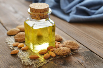 Almond oil in bottle