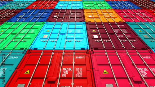 Fotobehang Poort Lots of Colorful Cargo Containers.
