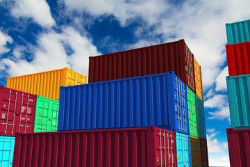 Stacked Cargo Containers on Sky Background.