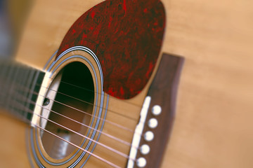 Acoustic guitar with very shallow depth of field focus on string