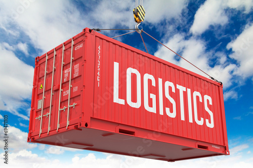 Logistyka - Red Hanging Cargo Container.
