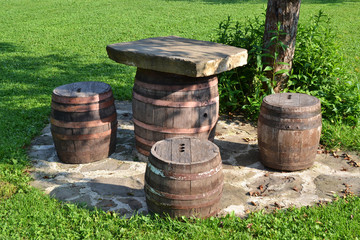 Chairs and table from barrel