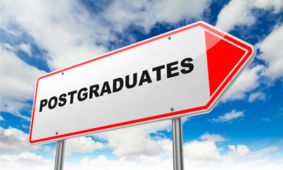 Postgraduates on Red Road Sign.