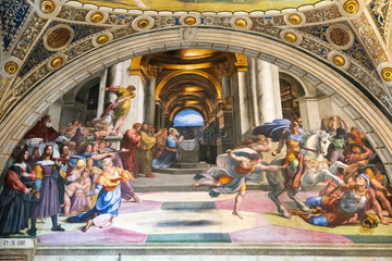 The fresco of the 16th century in the Vatican Museum