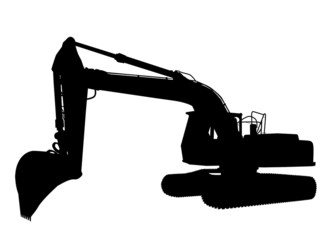 Silhouette of the excavator