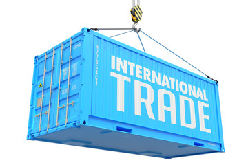 International Trade - Blue Hanging Cargo Container.