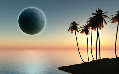3D palm tree island with planet in the sky