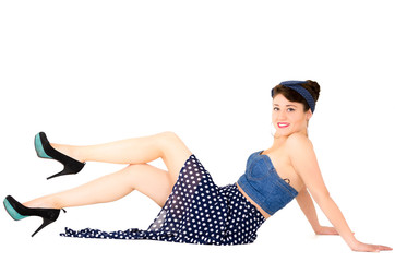 Beautiful retro young girl wearing blue vintage clothes
