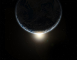 3D space eclipse background