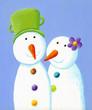 Two cute snowmen in love