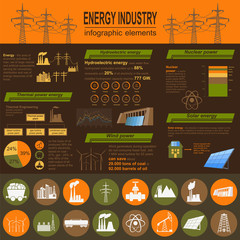 Fuel and energy industry infographic, set elements for creating