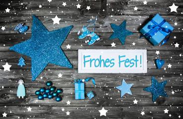 Weihnachtskarte mit Text Frohes Fest in Blau Türkis