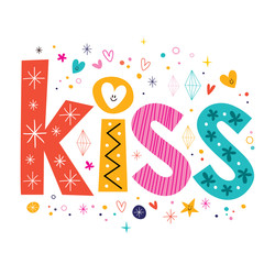 word kiss lettering decorative text