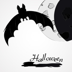 halloween background bat and moon