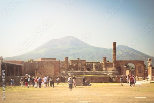 canvas print picture Pompeji mit Vesuv