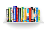 Fototapety Bookshelf with color hardcover books