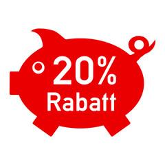 rs20 - RabattSchwein rot - 20 Prozent - g1410