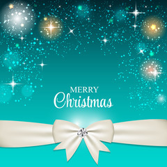 Christmas Glossy Star Background with Ribbon Vector Illustration