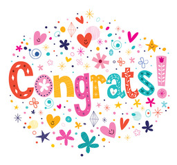 Congrats typography lettering decorative text card design