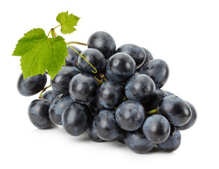 Ripe grapes isolated on the white background
