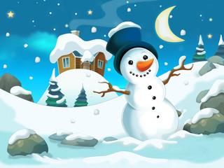 Cartoon christmas - illustration for the children