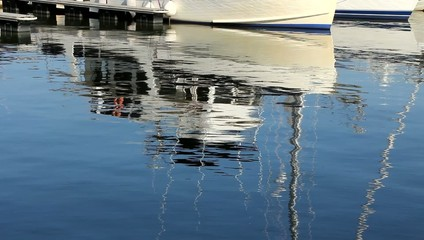Row of white luxury yachts in harbor, reflections in calm water.