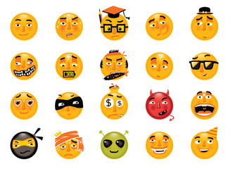 Vector set of funny smileys. Collection of isolated emoticons