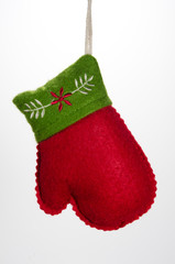 Christmas Orament Mitten with Green Trim