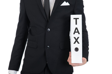 Businessman Holding Tax Folder