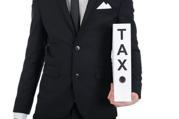 Businessman Holding Tax Folder