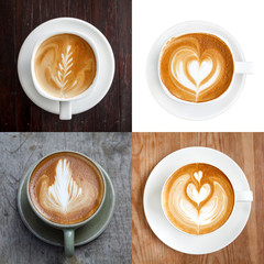 Collection,Cup of latte coffee