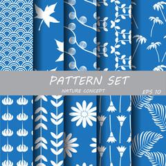 silver blue classic nature pattern set