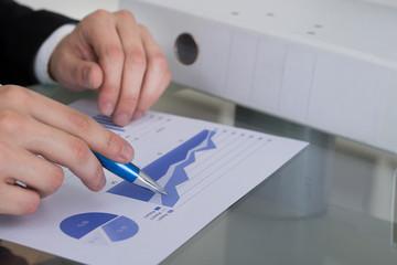 Businessman Analyzing Graph At Desk