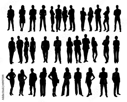 Collage Of Silhouette Business People - 69477391