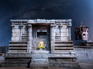 Meditation at night in Hampi