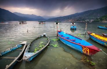 Boats near Pokhara lake