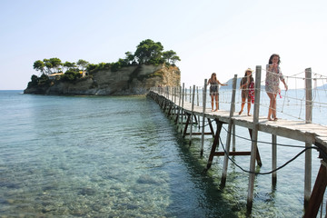 Bridge to Agios Sostis island in Laganas