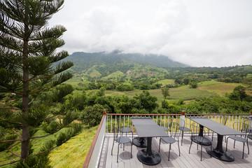 Beautiful terrace lounge with mountain view